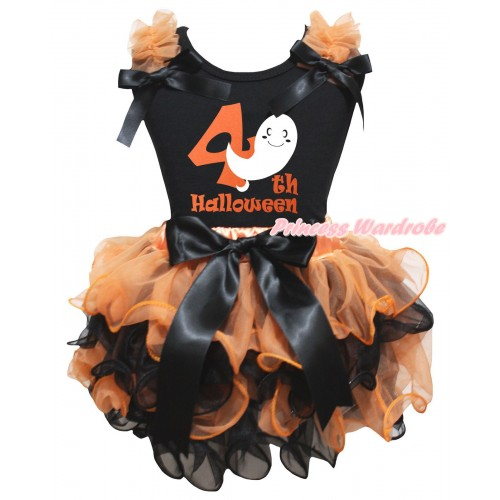 Halloween Black Tank Top Orange Ruffles Bows & Ghost 4th Halloween Painting & Orange Black Petal Pettiskirt With Black Bow MG3256