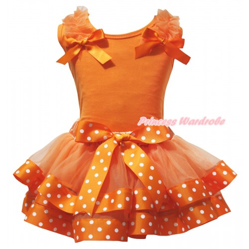 Orange Baby Pettitop Orange Ruffles Bows & Orange White Dots Trimmed Newborn Pettiskirt NG2615