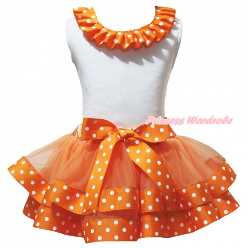 White Baby Pettitop Orange White Dots Lacing & Orange White Dots Trimmed Newborn Pettiskirt NG2623