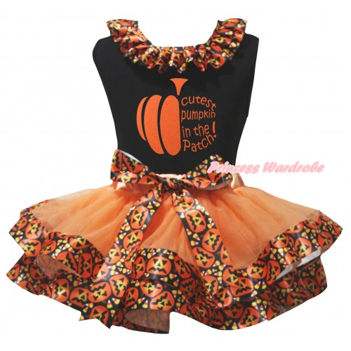 Halloween Black Pettitop Black Pumpkin Lacing & Cutest Pumpkin In The Patch Painting & Orange Black Pumpkin Trimmed Newborn Pettiskirt NG2624