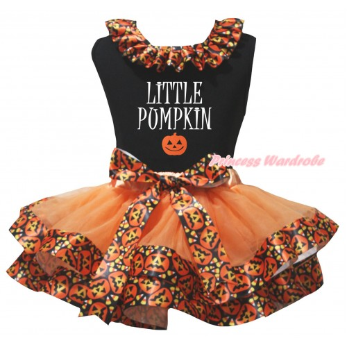 Halloween Black Pettitop Black Pumpkin Lacing & Little Pumpkin Painting & Orange Black Pumpkin Trimmed Newborn Pettiskirt NG2626