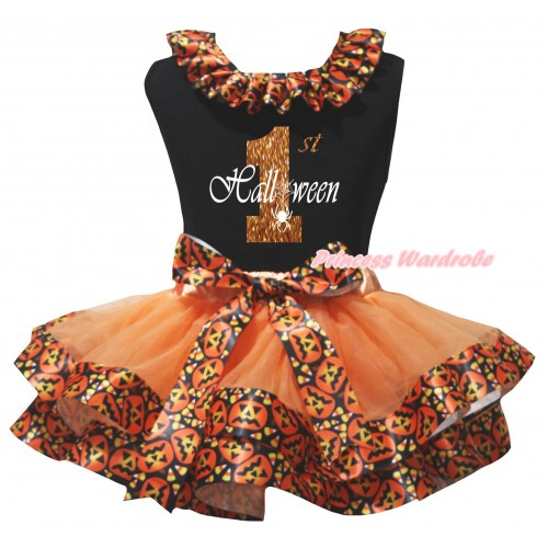 Halloween Black Pettitop Black Pumpkin Lacing & Sparkle Orange 1st Halloween Painting & Orange Black Pumpkin Trimmed Newborn Pettiskirt NG2627