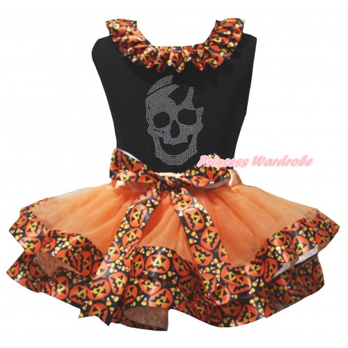 Halloween Black Pettitop Black Pumpkin Lacing & Sparkle Rhinestone Skull Print & Orange Black Pumpkin Trimmed Newborn Pettiskirt NG2628