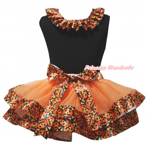 Black Pettitop Black Pumpkin Lacing & Orange Black Pumpkin Trimmed Newborn Pettiskirt NG2631