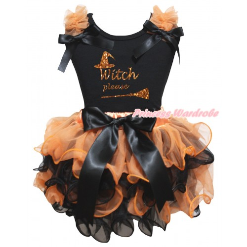 Halloween Black Pettitop Orange Ruffles Black Bows & Sparkle Orange Witch Please Painting & Orange Black Petal Newborn Pettiskirt With Black Bow NG2650