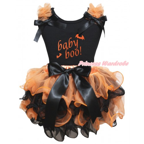 Halloween Black Pettitop Orange Ruffles Black Bows & Baby Boo! Painting & Orange Black Petal Newborn Pettiskirt With Black Bow NG2652