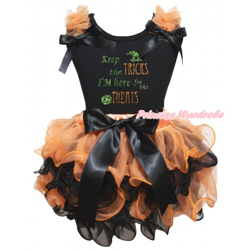 Halloween Black Pettitop Orange Ruffles Black Bows & Keep The Tricks I'm Here For The Treats Painting & Orange Black Petal Newborn Pettiskirt With Black Bow NG2653