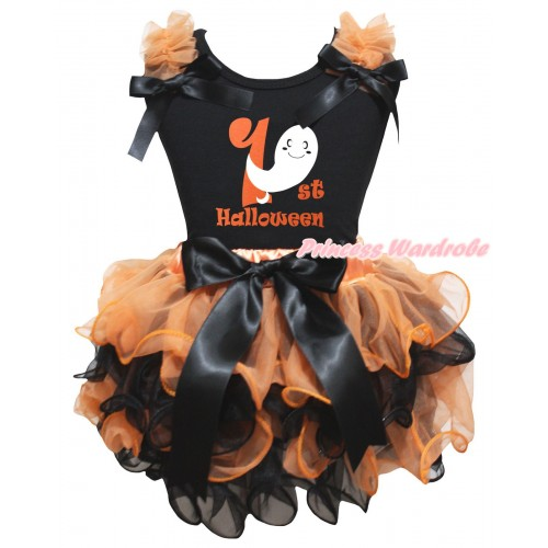 Halloween Black Pettitop Orange Ruffles Black Bows & Ghost 1st Halloween Painting & Orange Black Petal Newborn Pettiskirt With Black Bow NG2654