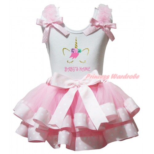 Halloween White Pettitop Light Pink Ruffles Pink White Dots Bows & Unicorn Baby Name's Painting & Light Pink White Dots Trimmed Newborn Pettiskirt NG2661