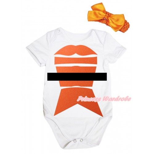 Halloween White Baby Jumpsuit & Salmon Painting & Orange Headband Orange Bow TH1073
