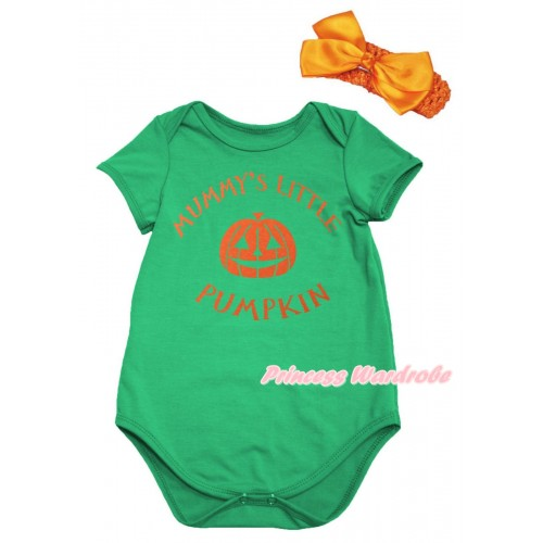 Halloween Green Baby Jumpsuit & Mummy's Little Pumpkin Painting & Orange Headband Orange Bow TH1075