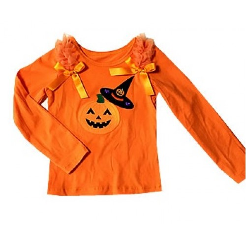 Halloween Orange Long Sleeve Top Ruffles & Bow & Pumpkin Witch Hat & Pumpkin Print TB1497