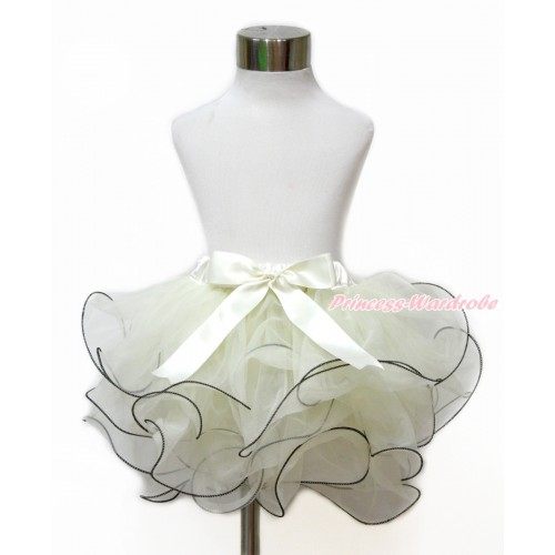 Cream White Flower Petal Newborn Baby Pettiskirt With Cream White Bow N221