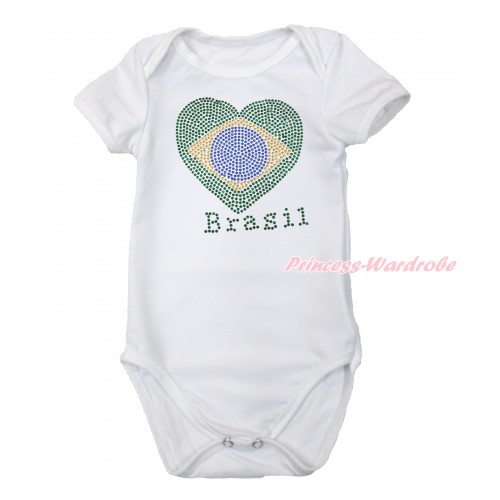 World Cup White Baby Jumpsuit with Sparkle Crystal Bling Rhinestone Brazil Heart Print TH501