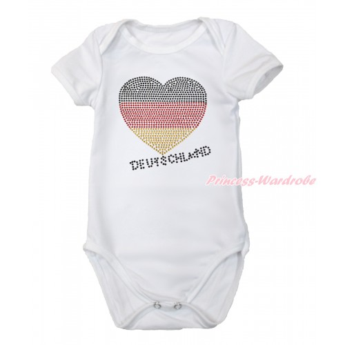 World Cup White Baby Jumpsuit with Sparkle Crystal Bling Rhinestone Germany Heart Print TH506