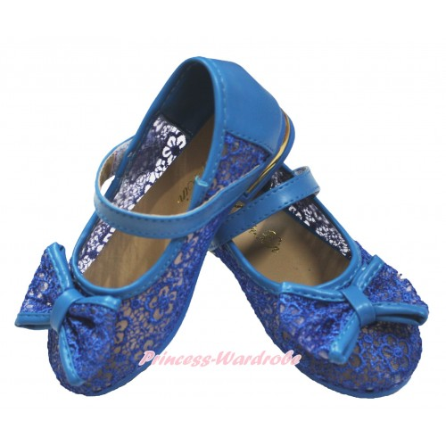 Frozen Princess Anna Royal Blue Lace See Through With Bow Slip On Girl Shoes 002Blue