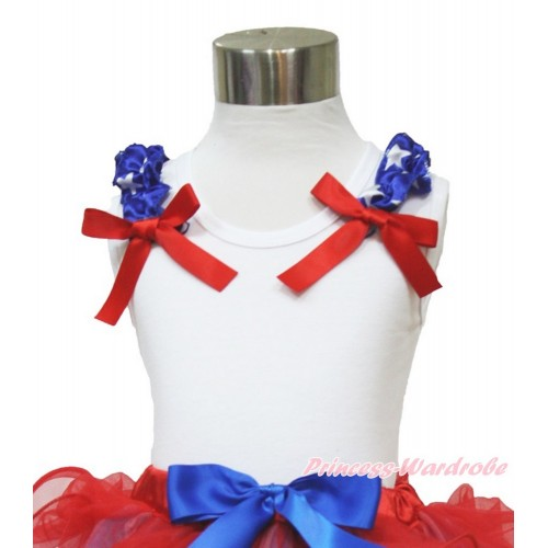 American's Birthday White Tank Top Patriotic American Star Ruffles Red Bow TB818