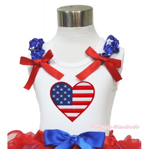 White Tank Top Patriotic American Star Ruffles Red Bow Patriotic American Heart TB820