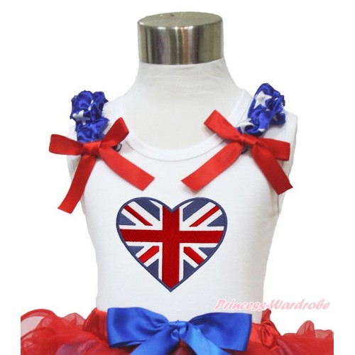 White Tank Top Patriotic American Star Ruffles Red Bow Patriotic British Heart TB821