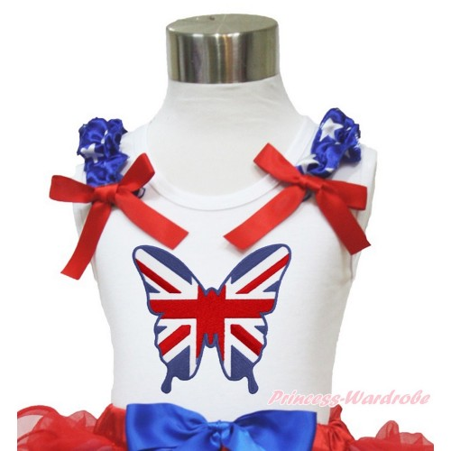 White Tank Top Patriotic American Star Ruffles Red Bow Patriotic British Butterfly TB822