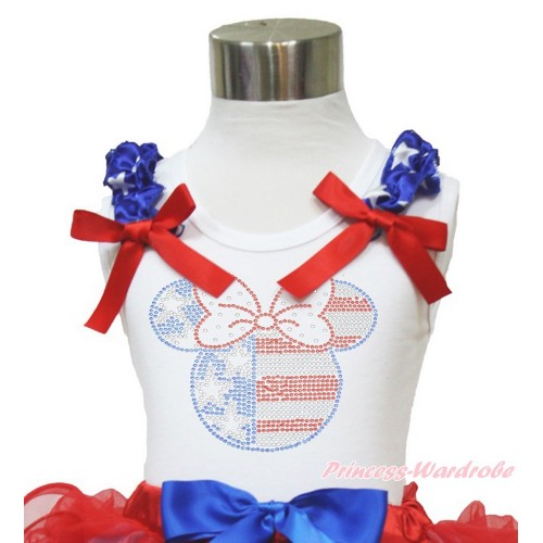 White Tank Top Patriotic American Star Ruffles Red Bow Sparkle Bling Rhinestone 4th July Minnie TB823
