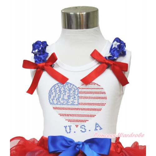 White Tank Top Patriotic American Star Ruffles Red Bow Sparkle Bling Rhinestone USA Heart TB824