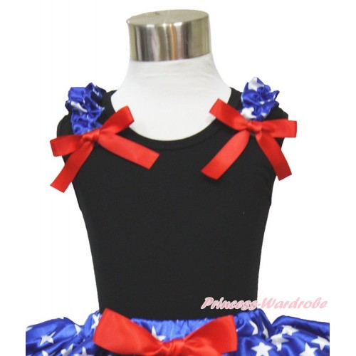 American's Birthday Black Tank Top Patriotic American Star Ruffles Red Bow TB825