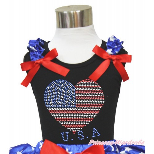 Black Tank Top Patriotic American Star Ruffles Red Bow Sparkle Crystal Bling Rhinestone USA Heart TB827