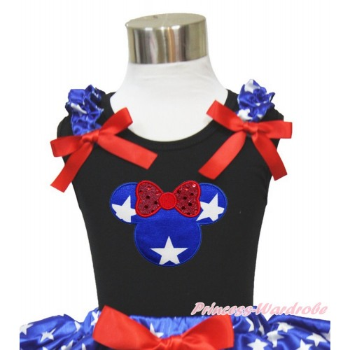 Black Tank Top Patriotic American Star Ruffles Red Bow Patriotic American Star Minnie TB828