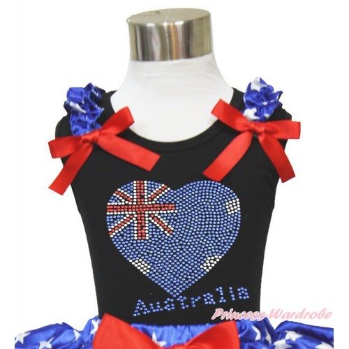 Black Tank Top Patriotic American Star Ruffles Red Bow Sparkle Bling Rhinestone Australia Heart TB829