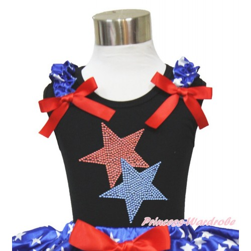 Black Tank Top Patriotic American Star Ruffles Red Bow Sparkle Bling Rhinestone Twin Star TB830