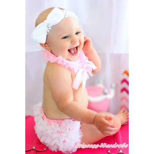 Light Pink Chiffon Ruffle Ribbon Scarf & White Ruffles Light Pink White Dots Bloomers & White Headband Silk Bow LD286