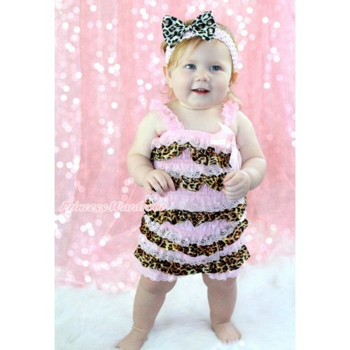 Light Pink & Leopard Satin Petti Romper & Light Pink Bow & Straps & Light Pink Headband Leopard Satin Bow 2pc Set RH151