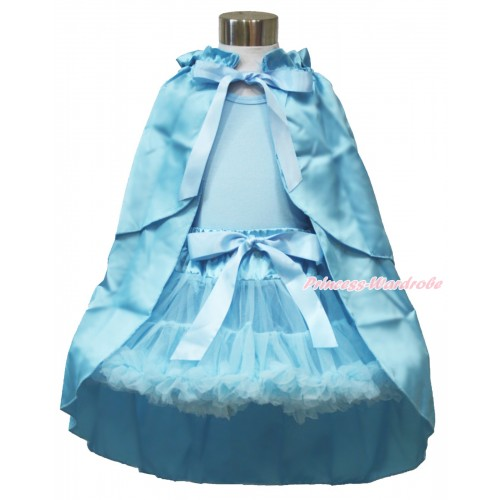 Frozen Elsa Light Blue Tank Tops with White Ruffles and Sparkle Silver Grey Bow & Light Blue Pettiskirt & Light Blue Satin Cape MH221