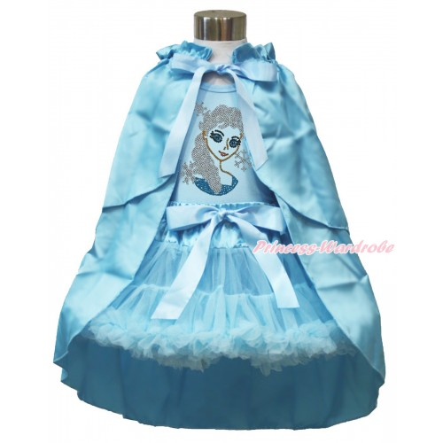 Frozen Elsa Light Blue Tank Tops White Ruffles Sparkle Silver Grey Bow Sparkle Crystal Bling Rhinestone Princess Elsa & Light Blue Pettiskirt & Light Blue Satin Cape MH223