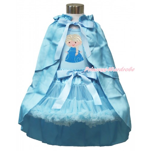 Frozen Elsa Light Blue Tank Tops White Ruffles Sparkle Silver Grey Bow Princess Elsa & Light Blue Pettiskirt & Light Blue Satin Cape MH224