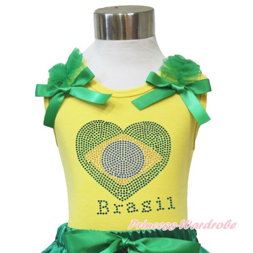 World Cup Yellow Tank Top Kelly Green Ruffles & Bow Sparkle Crystal Bling Rhinestone Brazil Heart TN237