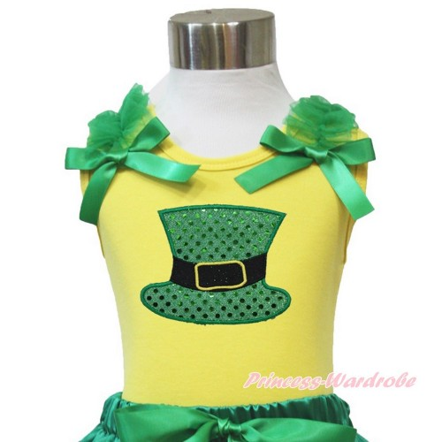 Yellow Tank Top Kelly Green Ruffles & Bow Sparkle Kelly Green Hat TN238