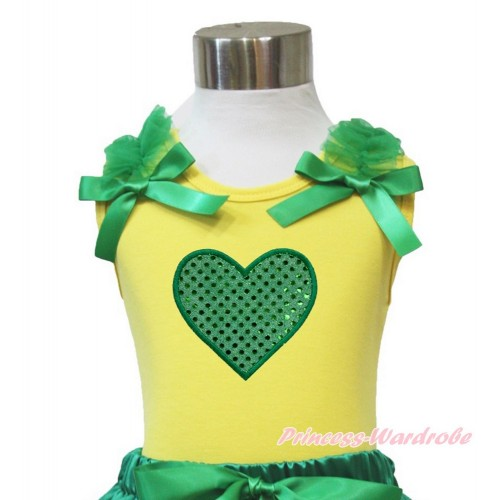 Yellow Tank Top Kelly Green Ruffles & Bow Sparkle Kelly Green Heart TN239