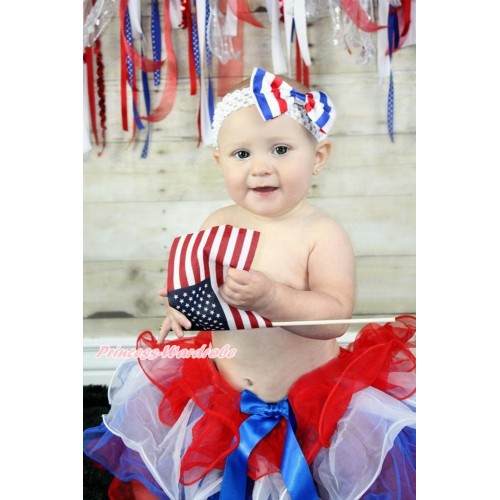 American's Birthday Red White Royal Blue Flower Petal Full Pettiskirt & Royal Blue Bow & White Headband Red White Blue Striped Satin Bow B272