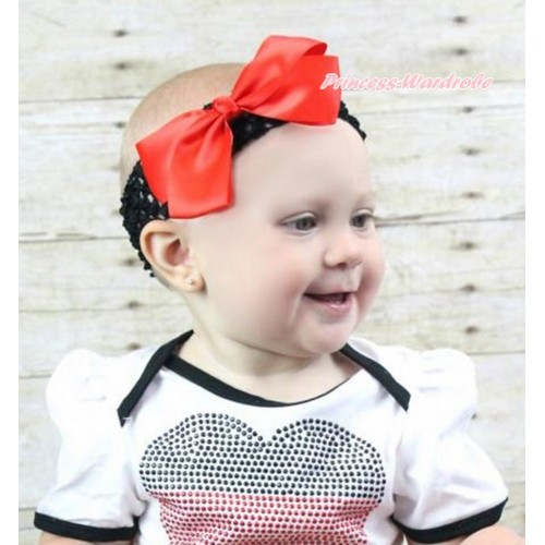 Black Headband With Red Silk Bow Hair Clip H877
