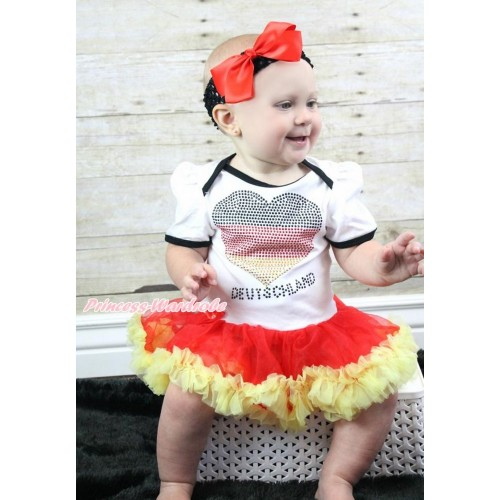 World Cup Germany White Baby Bodysuit Jumpsuit Red Yellow Pettiskirt With Sparkle Crystal Bling Rhinestone Germany Heart Print With Black Headband Red Silk Bow JS3554