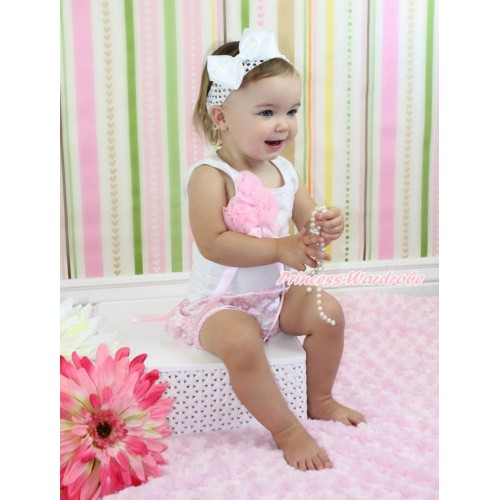 White Baby Pettitop Bunch Of Light Pink Rosettes & Bow & Light Pink Bow Light Pink White Damask Satin Bloomers & White Headband White Silk Bow LD287