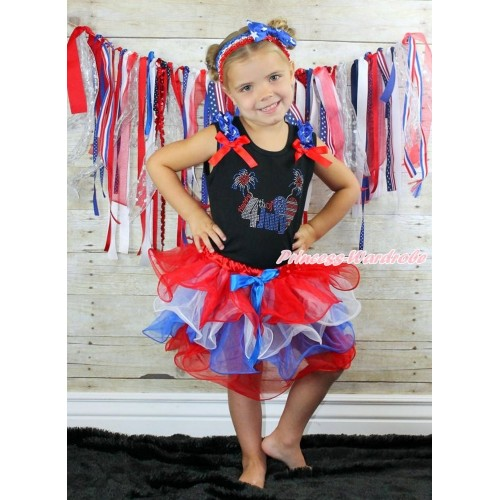Black Tank Top Patriotic American Star Ruffles Red Bow & Sparkle Rhinestone 4th July American Heart Print & Royal Blue Bow Red White Blue Pettiskirt MG1248