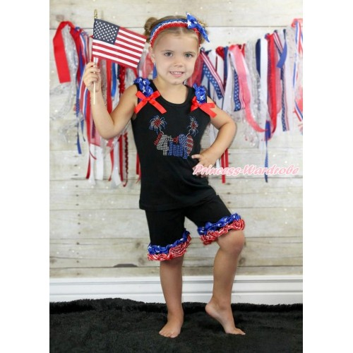 American's Birthday Black Tank Top Patriotic American Star Ruffles Red Bow Sparkle Rhinestone 4th July American Heart & Black Cotton Short Pantie Patriotic American Ruffles P014