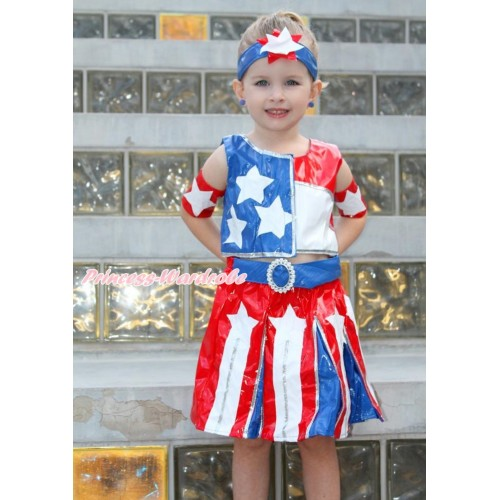 American's Birthday 4th July Patriotic American Tank Top With Skirt Girl Costume Set C273