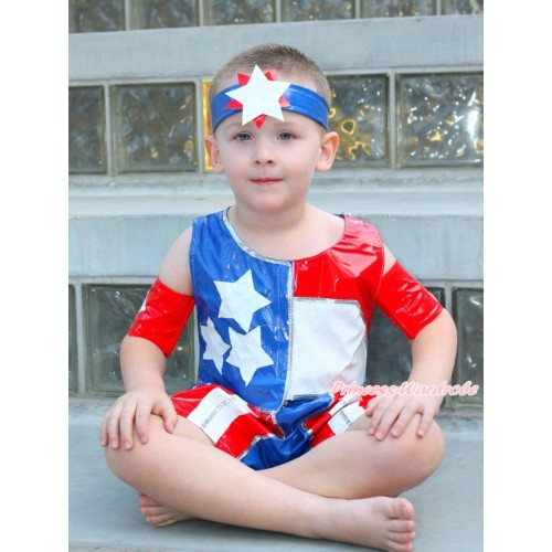 American's Birthday 4th July Patriotic American Tank Top With Short Pants Boy Costume Set C274