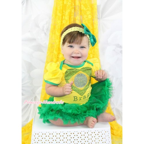 World Cup Brazil Yellow Baby Bodysuit Jumpsuit Kelly Green Pettiskirt With Sparkle Crystal Bling Rhinestone Brazil Heart Print With Yellow Headband Kelly Green Satin Bow JS3418
