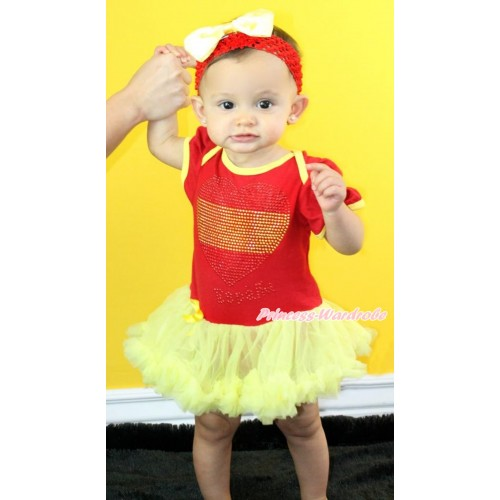 World Cup Spain Red Baby Bodysuit Jumpsuit Yellow Pettiskirt With Sparkle Crystal Bling Rhinestone Spain Heart Print With Red Headband Yellow Satin Bow JS3419