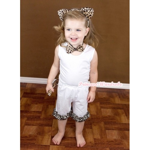 White Tank Top With White Cotton Short Pantie With Leopard Ruffles & Leopard Print Headband Tie Tail Set P011